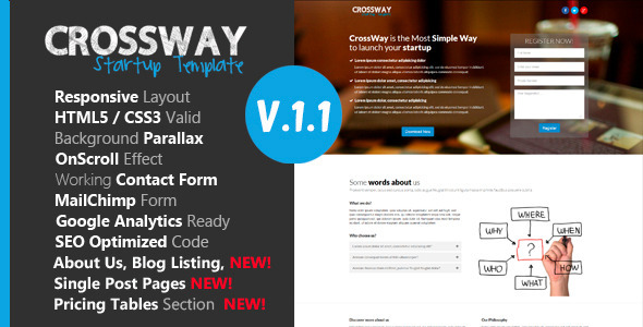 Crossway Startup Landing Page Template By DSAThemes ThemeForest - Seo landing page template