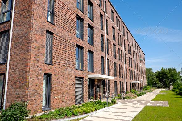 modern red brick buildings stock photo by elxeneize photodune. Black Bedroom Furniture Sets. Home Design Ideas
