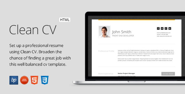 Clean CV Responsive Resume Template 4 Bonuses by bitpub