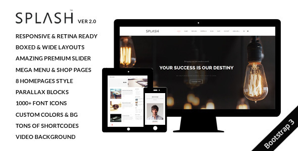 Splash MultiPurpose Bootstrap Website Template By Okathemes - Splash website templates