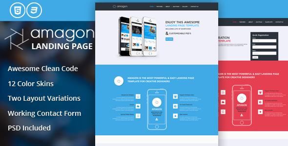 Amagon Flat Bootstrap Landing Page Template By Mannatstudio - Bootstrap landing page template