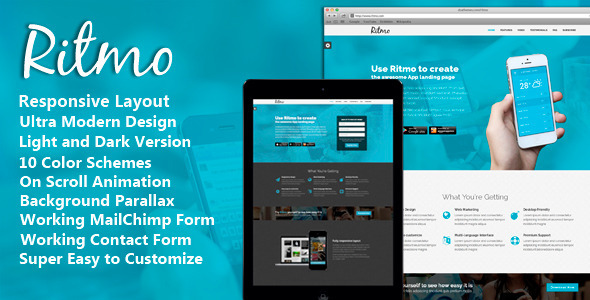 Ritmo - Mobile App Landing Page HTML5 Template by DSAThemes ...