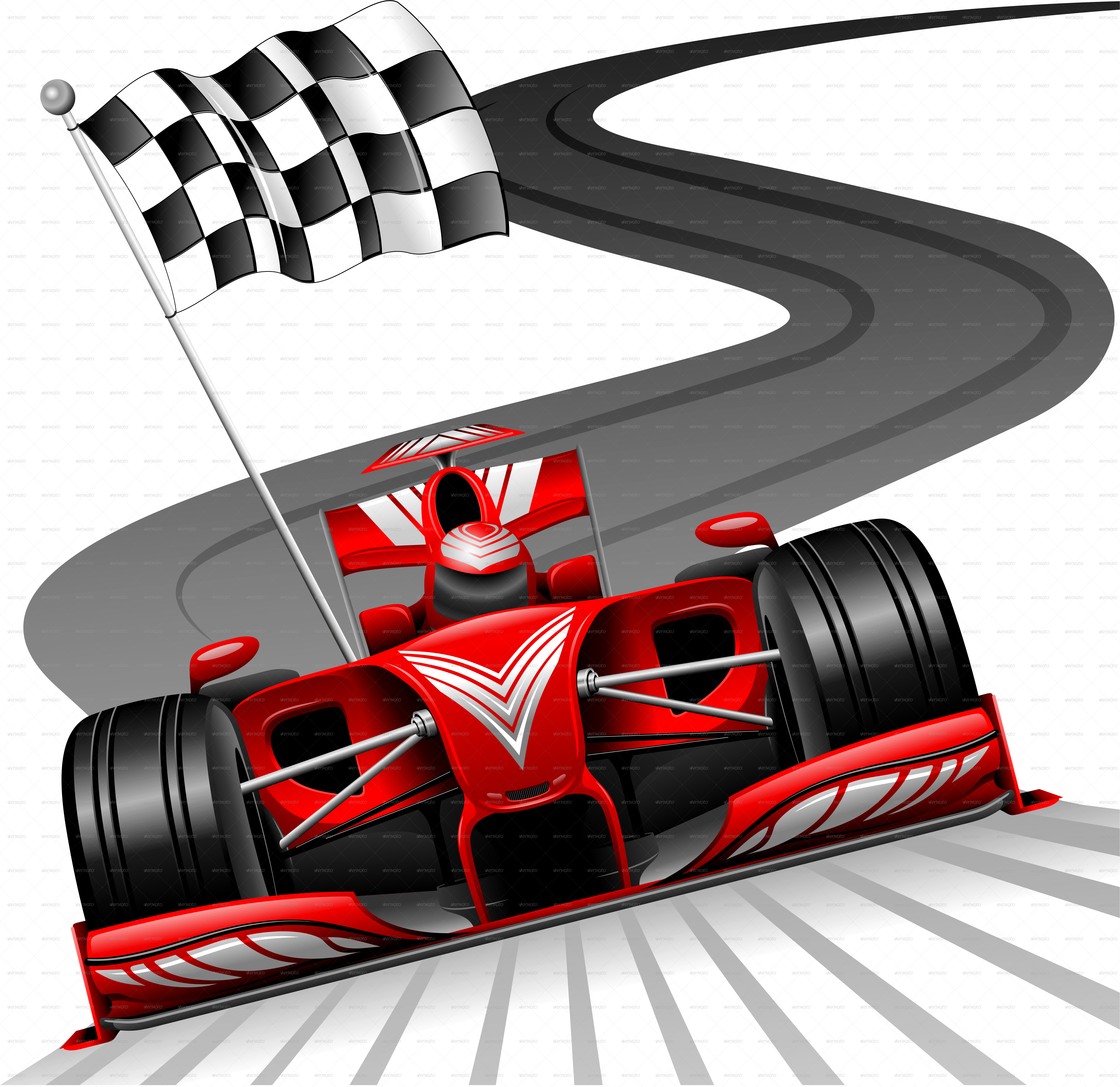 Formula  Red Car On Race Track By Bluedarkat Graphicriver