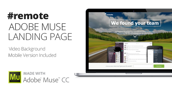 Remote | Muse Landing Page with Fullscreen Video Header by themejive