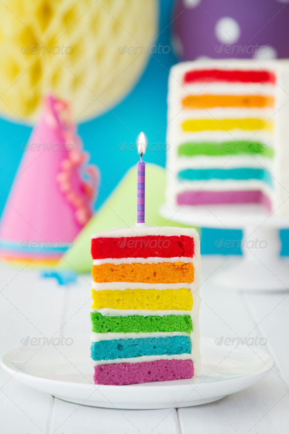 Colorful Slice Of Rainbow Birthday Cake Stock Photo By Ruthblack