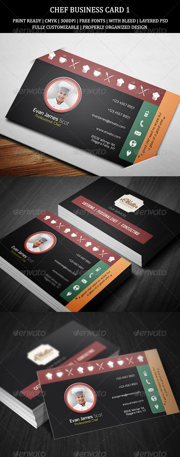 Restaurant Chef Business Card Template Free Psd Mandegar Info