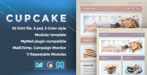 Cupcake Responsive Email Template By Nutzumi ThemeForest - Mailchimp template variables