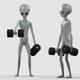 Alien Doing Front Dumbbell Raise Exercise - VideoHive Item for Sale