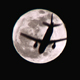 Full Moon with a Plane Crossing - VideoHive Item for Sale