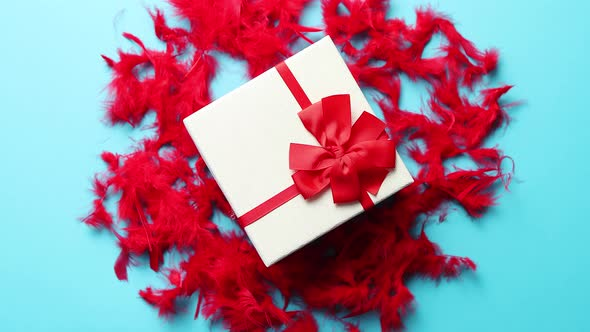 Box With A Gift Tied With A Ribbon Placed On Red Feathers By