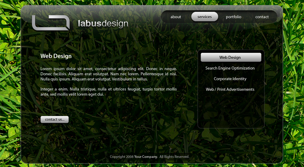 Translucent - Provides a menu with a listing of services, as well as a description of the service