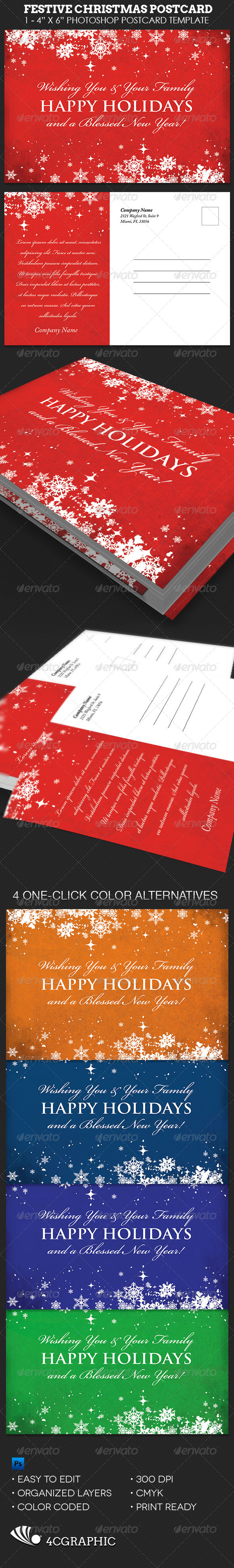 Festive Christmas Postcard Template - Events Flyers
