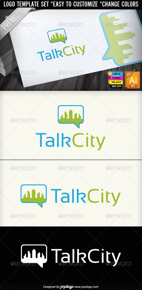 Talk City Social Networking Chat Logo Designs - Buildings Logo Templates