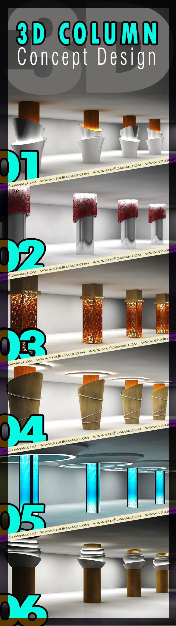 3D Column Concept Design 124 - 3DOcean Item for Sale