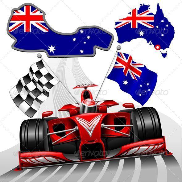 Formula 1 Red Race Australian Car   Sports/Activity Conceptual