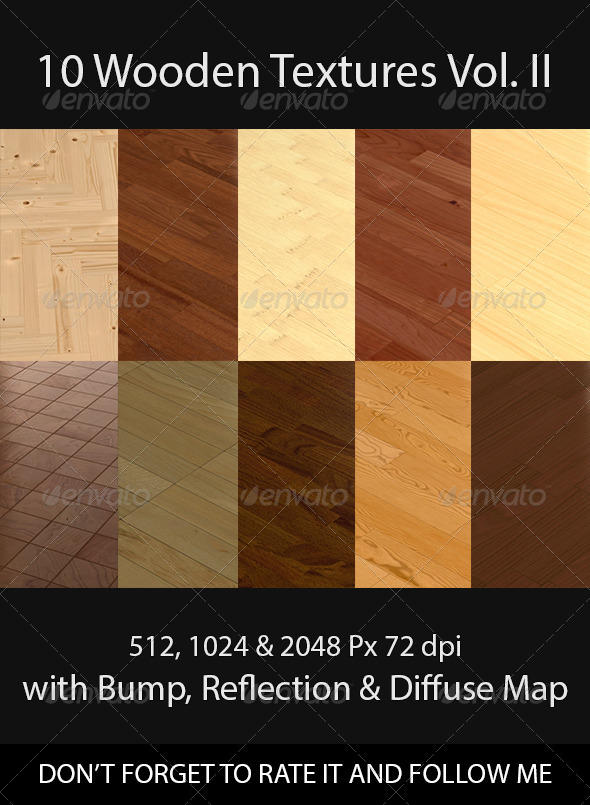 10 Wooden Floor Tileable Texture Vol. II - 3DOcean Item for Sale