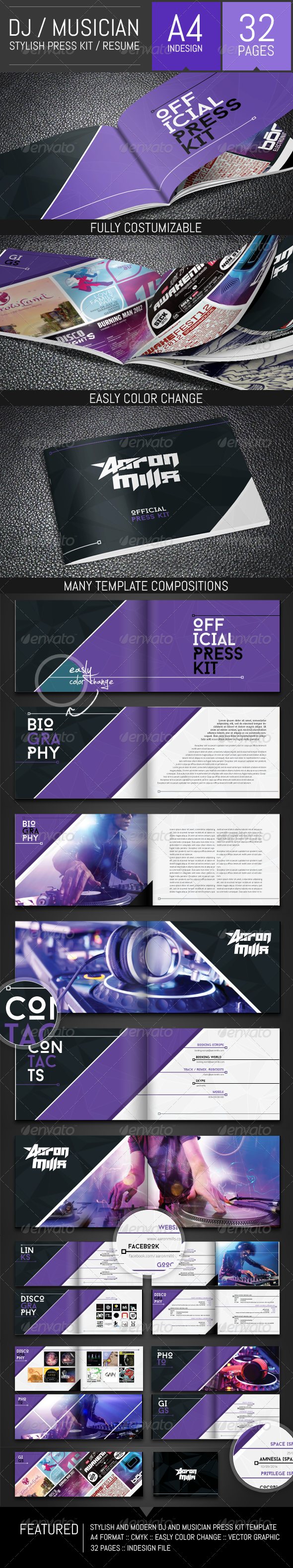 Dj and musician press kit resume template by dogmadesign for Dj press kit template free