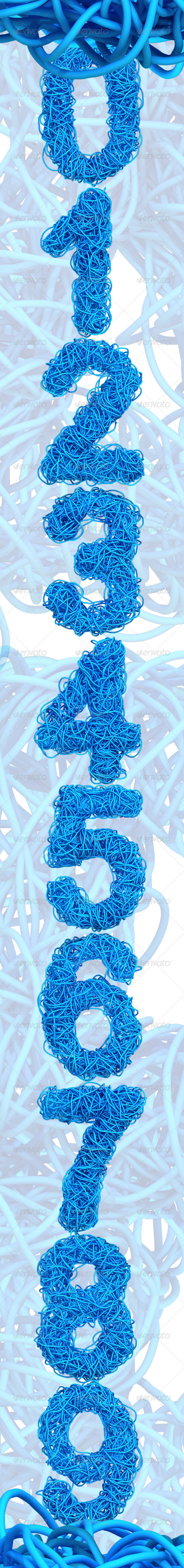 Blue Cable Number - Text 3D Renders