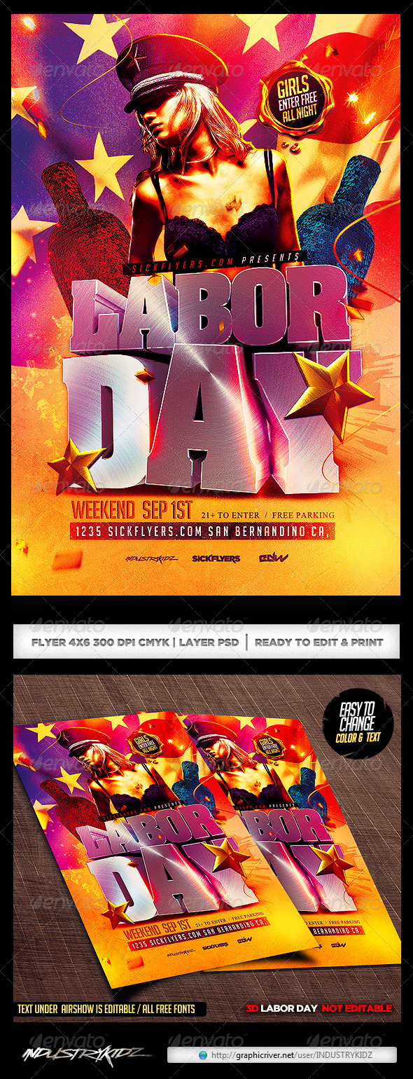 Labor Day Flyer Template By Industrykidz Graphicriver