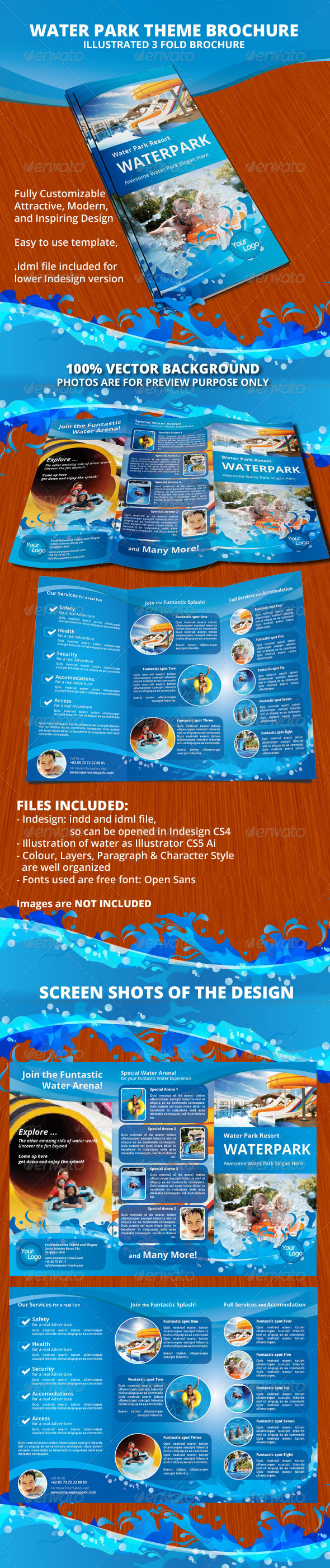brochure templates envato - water park theme trifold brochure by nyomanfajar