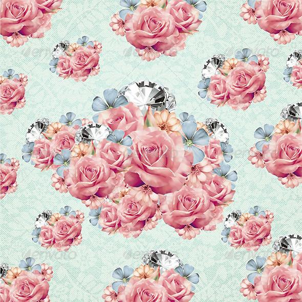 Diamond & Flower Bouquet Background by KlapauciusCo | GraphicRiver