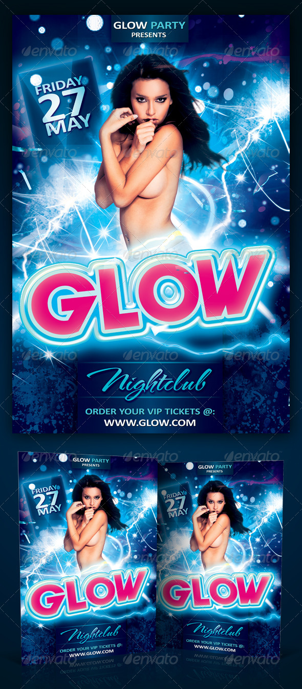 Glow Party Flyer Template PSD by Yellow_Emperor | GraphicRiver