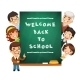 Teacher Points to the Blackboard with Welcome Back - GraphicRiver Item for Sale