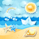 Seascape with Sun, Seashells and Paper Boat - GraphicRiver Item for Sale