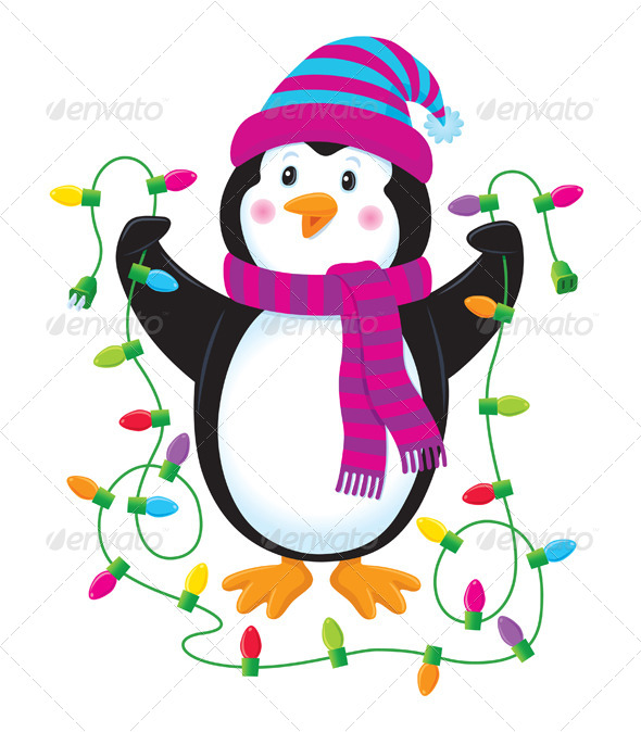 Penguin With Christmas Lights by RodSavely GraphicRiver