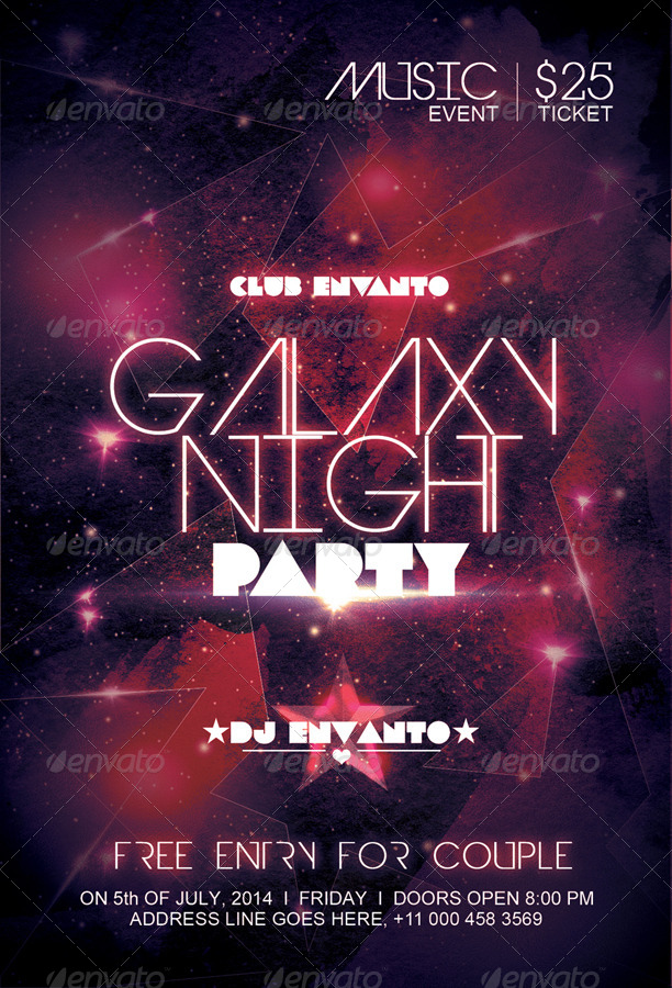 Galaxy Night Party Flyer by creatwitter | GraphicRiver