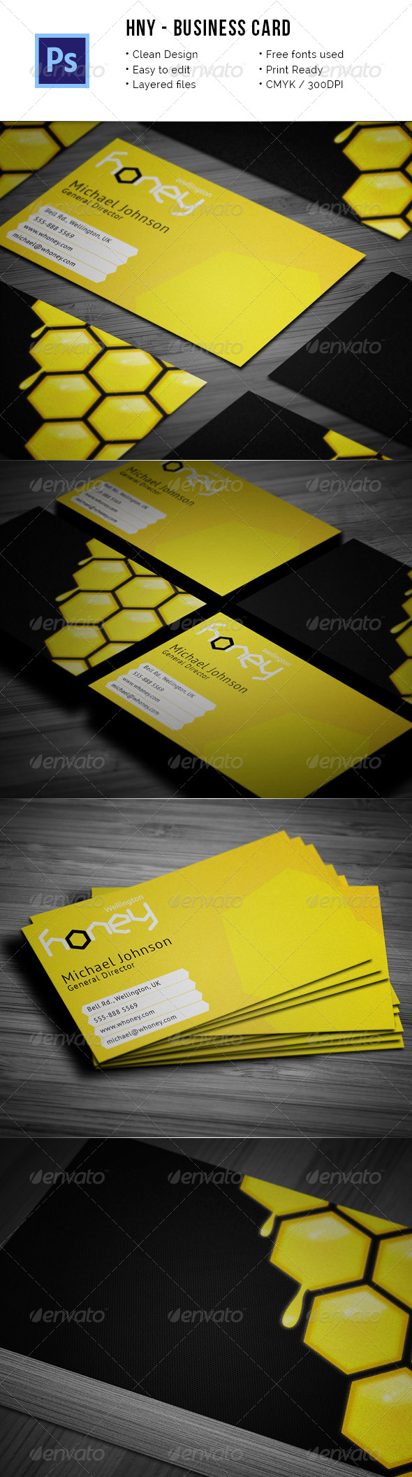 Hny - Honey Company Business Card - Industry Specific Business Cards
