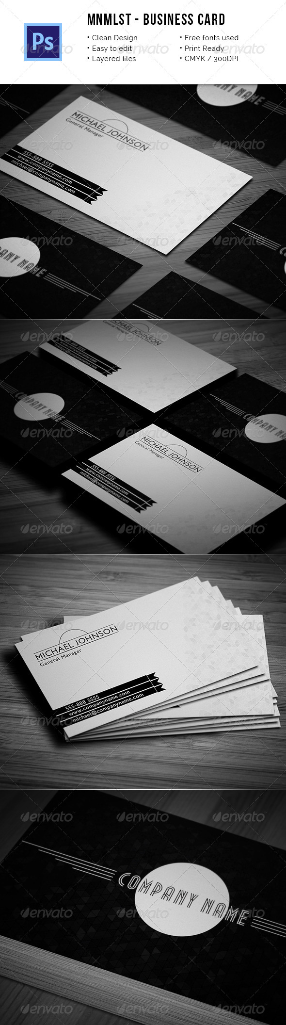 Mnmlst - Classic Minimalist Business Card - Retro/Vintage Business Cards