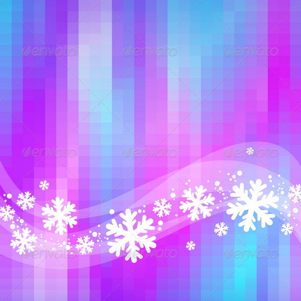 Winter Abstract Background - Snowflakes and Waves - Seasons/Holidays Conceptual