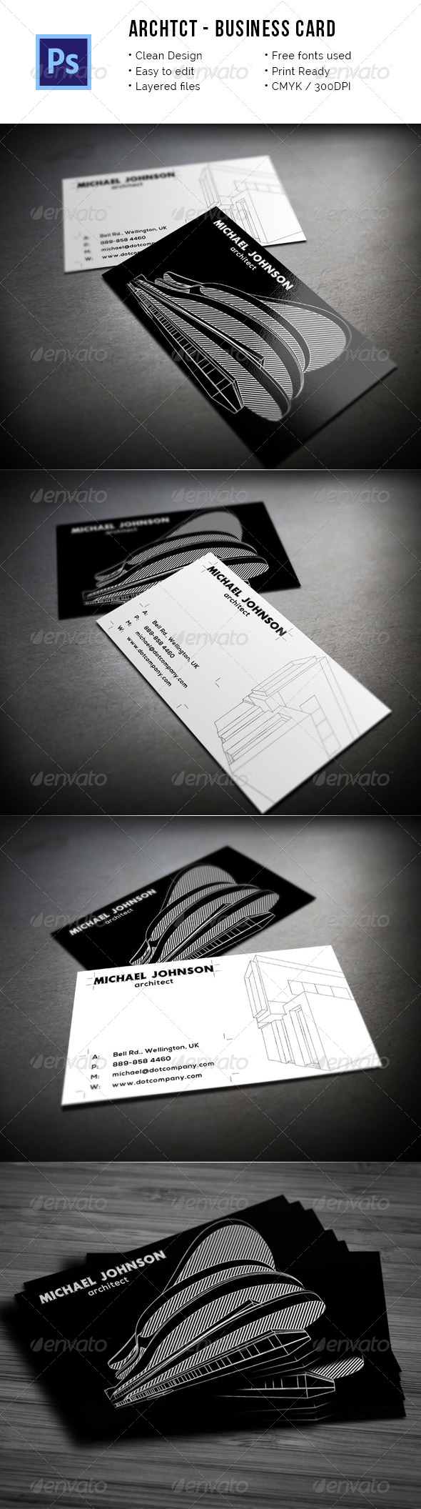 Archtct - Architect Business Card - Industry Specific Business Cards