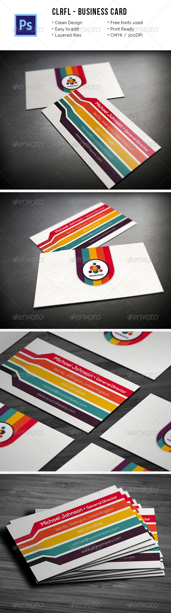 Clrfl - Colorful Business Card - Industry Specific Business Cards