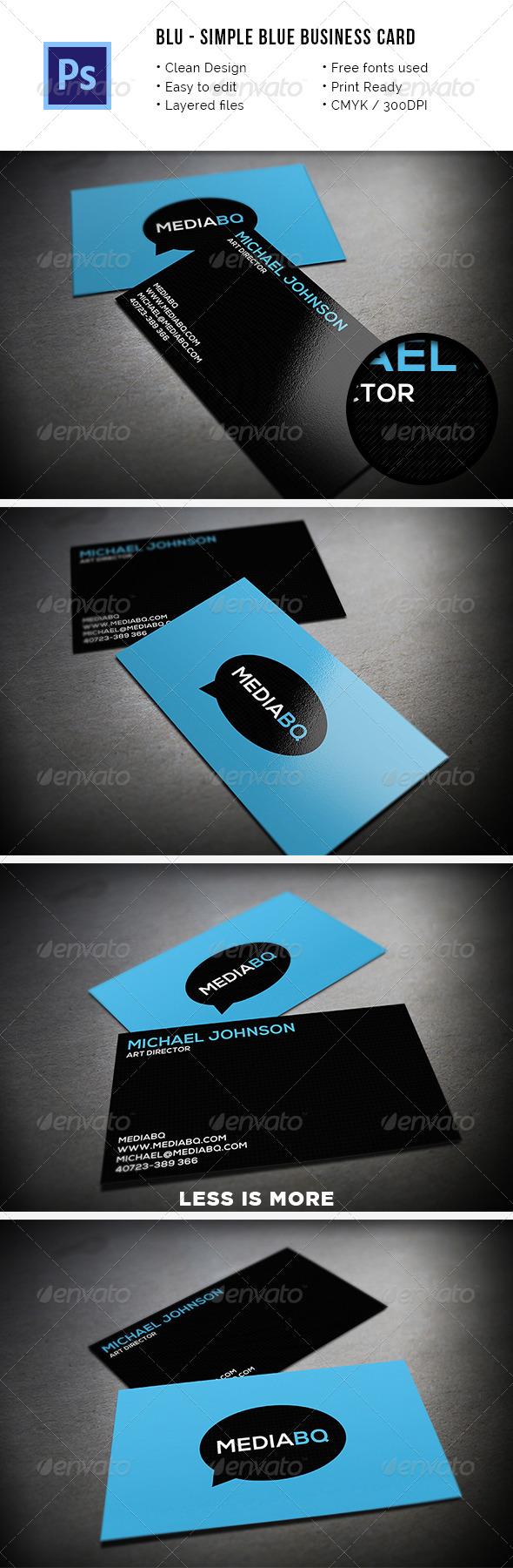 Blu - Simple Blue Business Card - Creative Business Cards