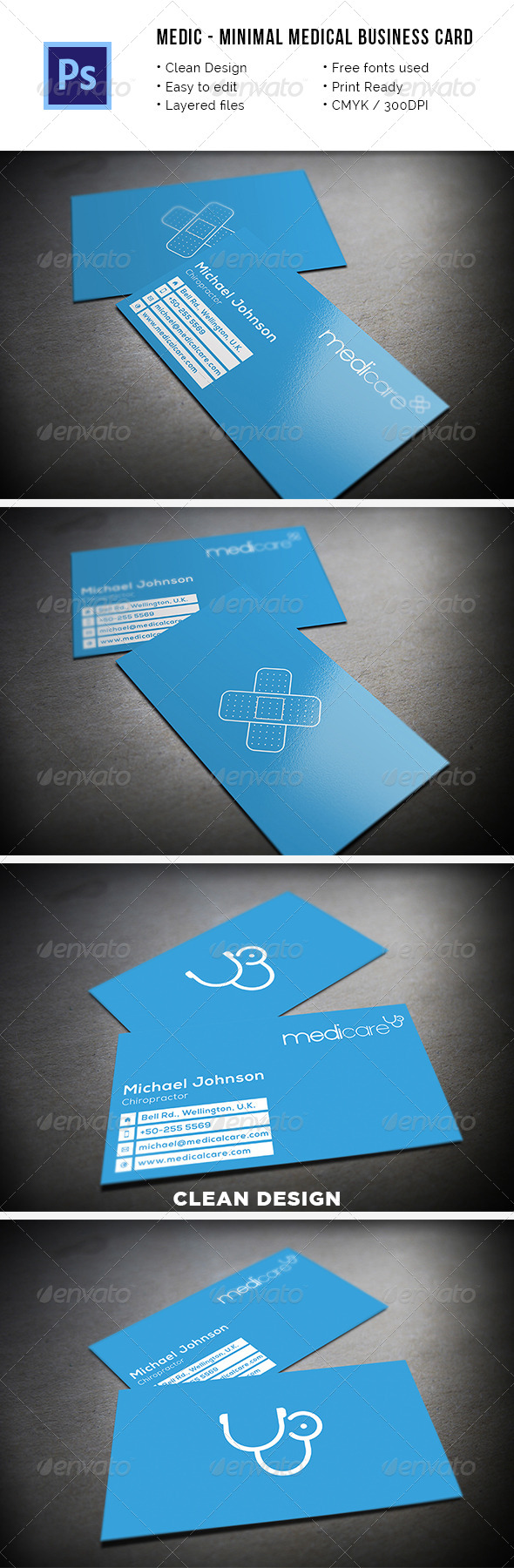 Medic - Minimal Medical Business Card. - Industry Specific Business Cards