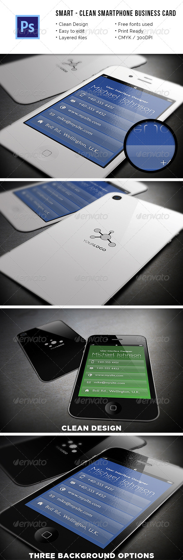 Smart - Clean Smartphone Business Card - Real Objects Business Cards