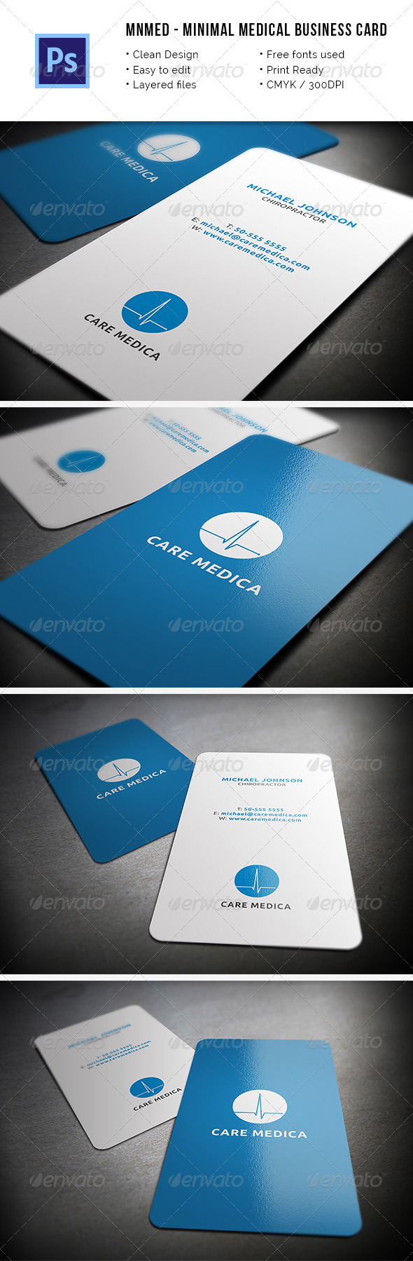 MnMed - Minimal Medical Business Card - Industry Specific Business Cards