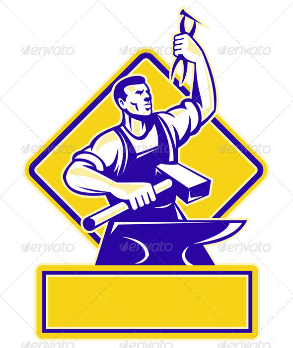 Blacksmith Holding Hammer with Anvil - People Characters