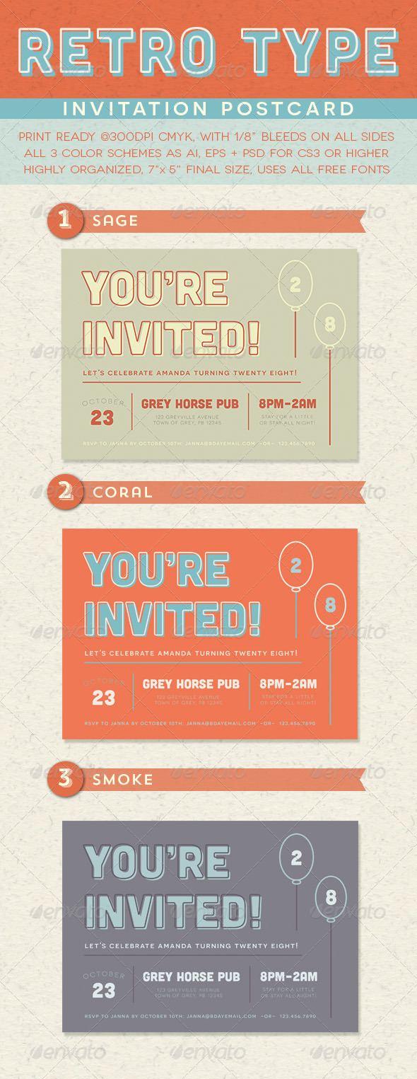 Retro Type Invitation Postcard - Invitations Cards & Invites