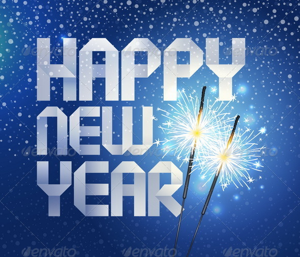 New Years Paper Greeting And Sparklers - Seasons/Holidays Conceptual
