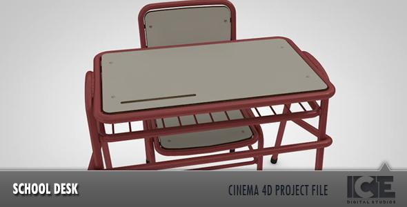 School Desk & Chair - 3DOcean Item for Sale