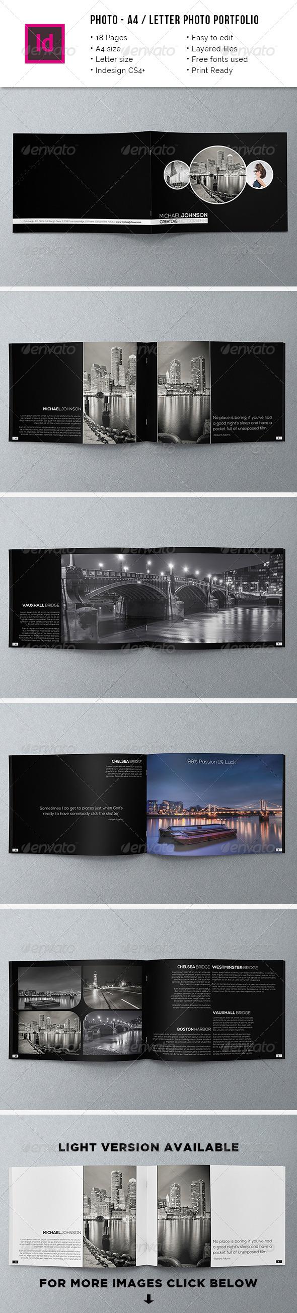 Minimal A4 / Letter Photography Portfolio - Portfolio Brochures