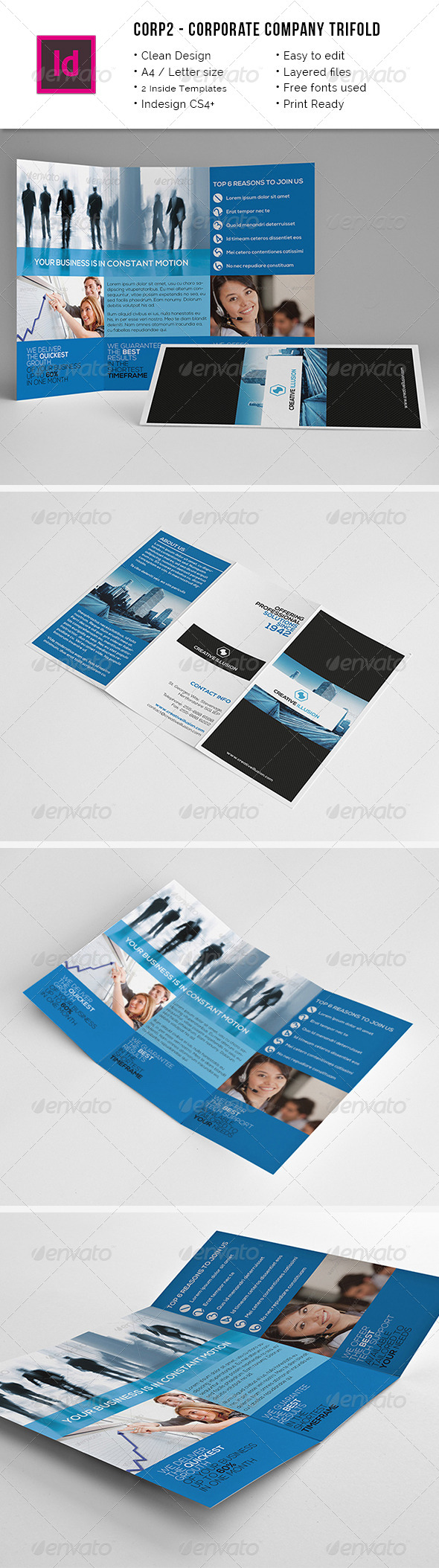 Clean Corporate A4 / Letter Trifold Brochure - Corporate Brochures