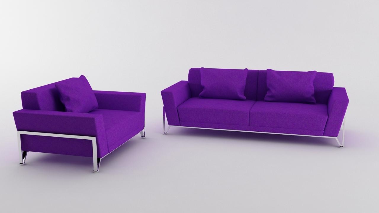 Vogue 3 PC Purple Microfiber Sofa Set By AFR_Artist | 3DOcean