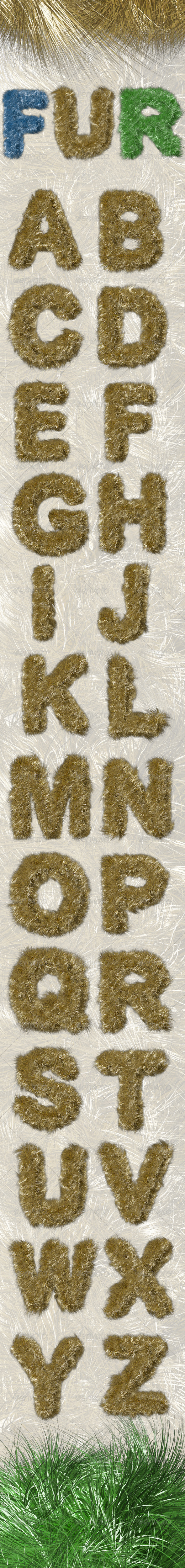 Fur Alphabet - Text 3D Renders