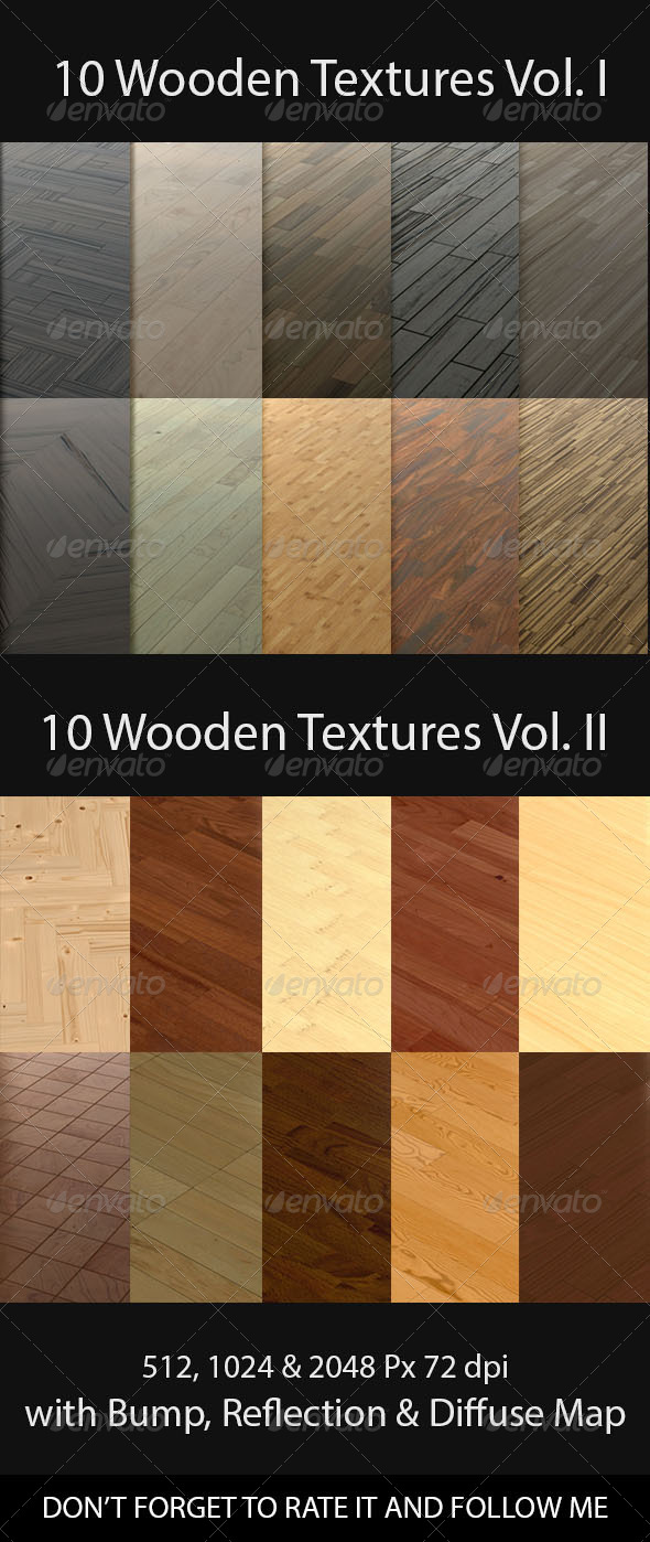 20 Wooden Floor Tileable Texture Vol. I & Vol. II - 3DOcean Item for Sale