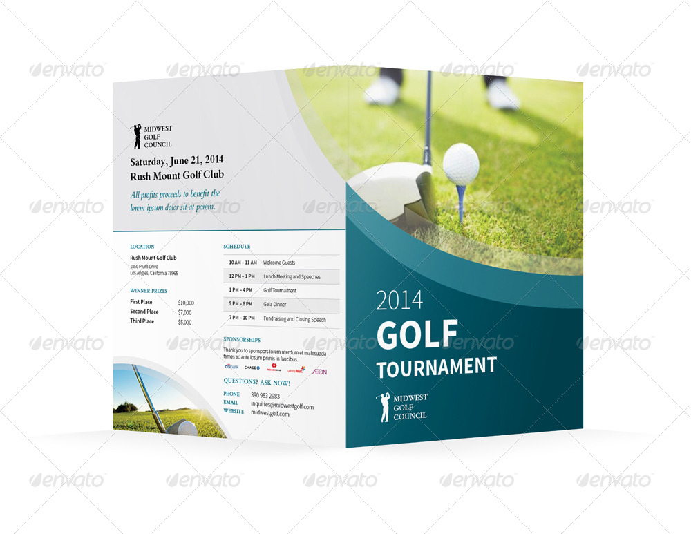Golf Tournament Bifold  Halffold Brochure By MikePantone