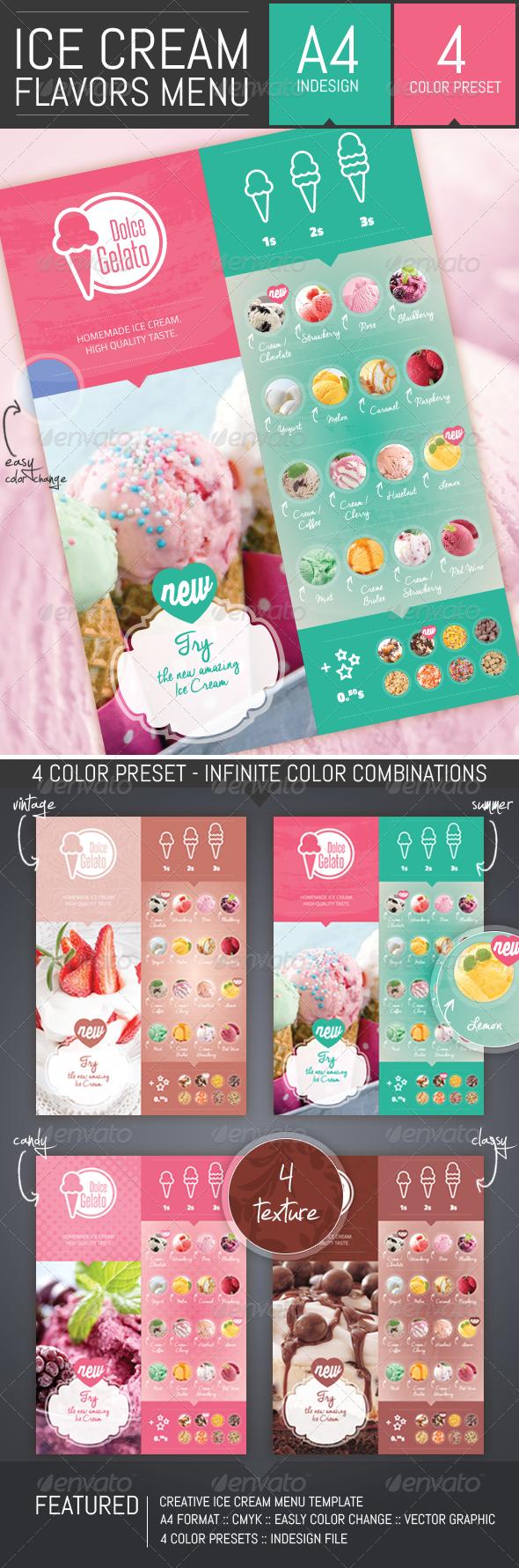 Ice Cream Flavor Menu Template by DogmaDesign | GraphicRiver